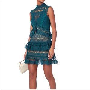 Self-Portrait Teardrop Guipure Mini Dress